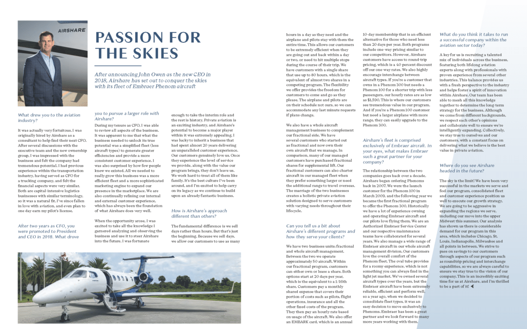 Airshare featured in Embraer's quarterly magazine