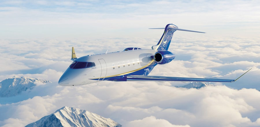 Airshare Challenger 350 flying above the clouds