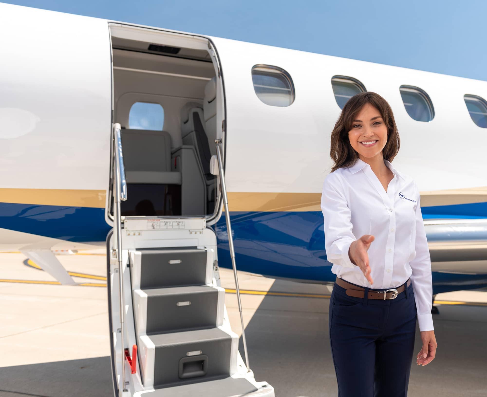 Woman Pilot Offering Handshake